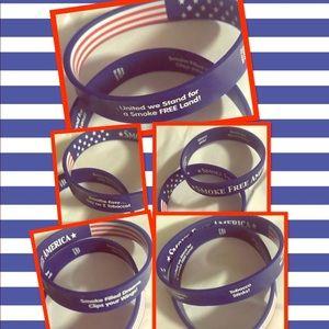 6 SMOKE FREE AMERICA Reversible Silicone Wristband